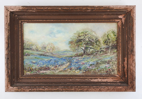 Vintage Distressed Texas Bluebonnet Painting