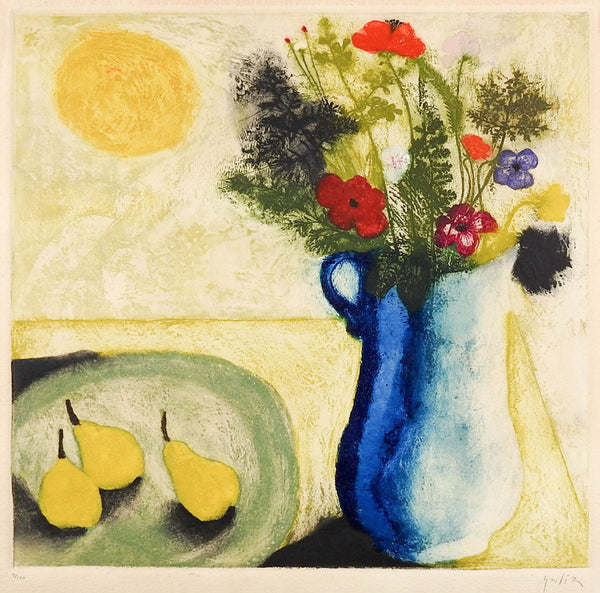 Mid Century Modernist Colored Etching Still Life