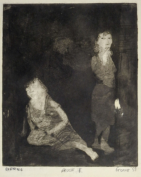 Evening Etching  of Two women