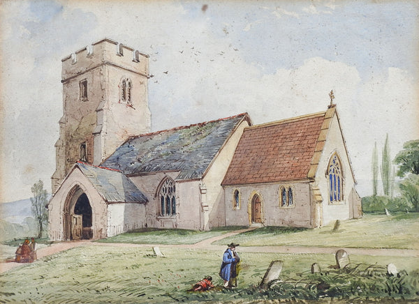 19th Century Clatworthy Church Watercolor Painting