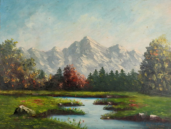 Mountains & Lake Impressionist Landscape Painting