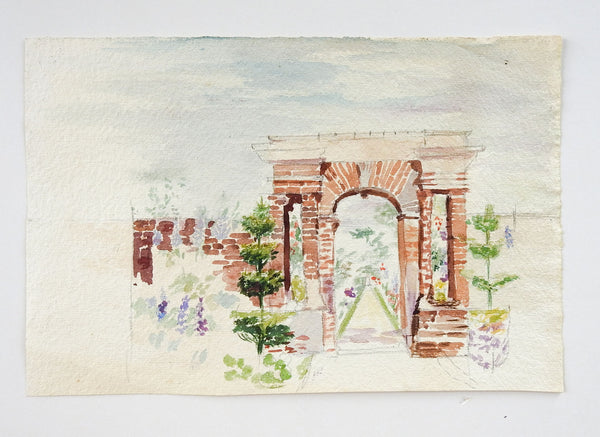 Garden & Arch Watercolor Painting
