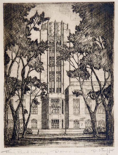 1935 Etching Mary Reed Library Denver University