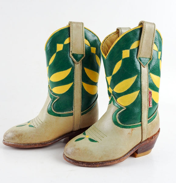 1960's Childrens Green & Yellow Leather Cowboy Boots