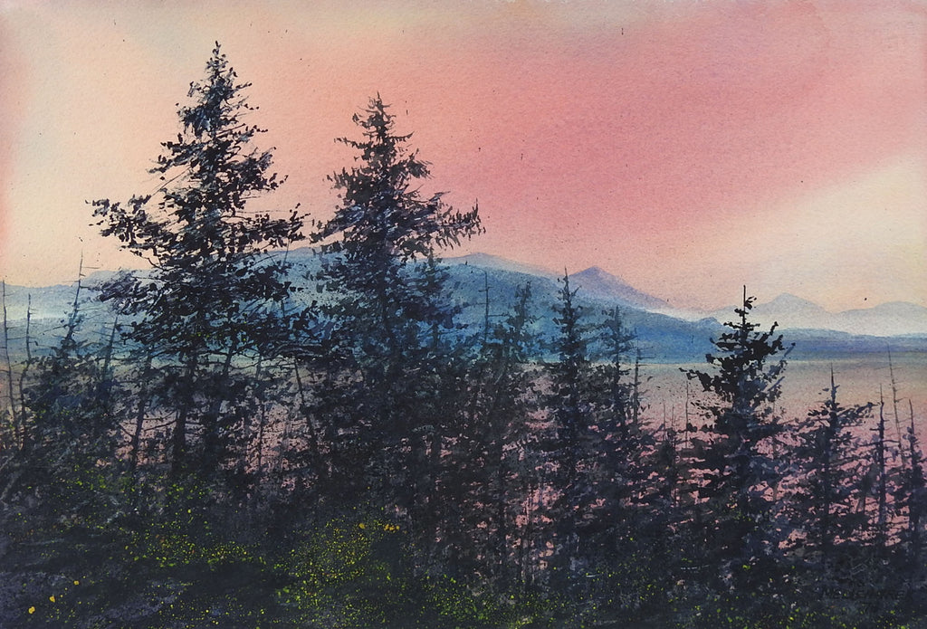 mountain forest sunrise watercolor painting artifax antiques design mountain forest sunrise watercolor painting
