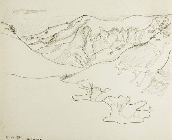 North Dakota Hills & Valleys Pencil Study Drawing