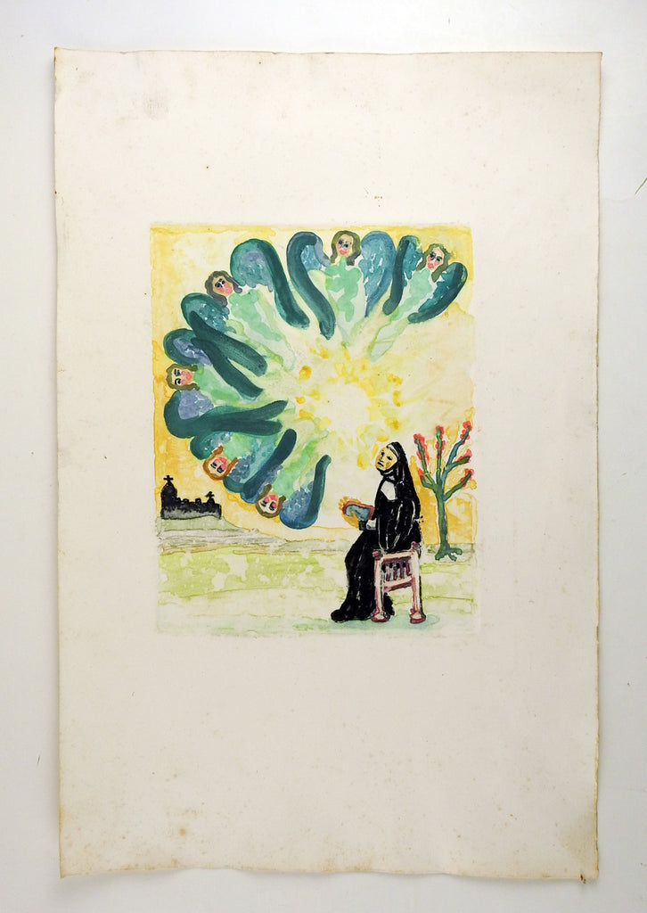 Mid Century Colored Etching of Angels