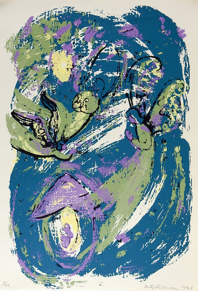 Abstract Angels Teal, Green & Purple Serigraph