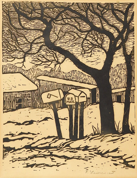 Kathleen Lawrence Mail Box Block Print