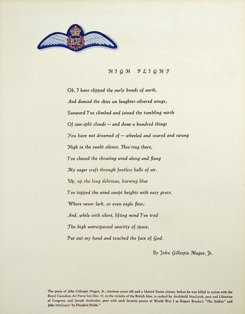 Sonnet High Flight By John Gilespie Magee Illustrated