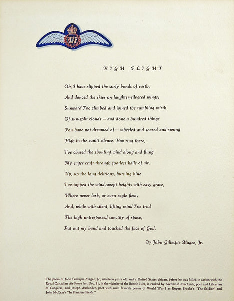"Sonnet ""High Flight"" by John Gilespie Magee Illustrated"