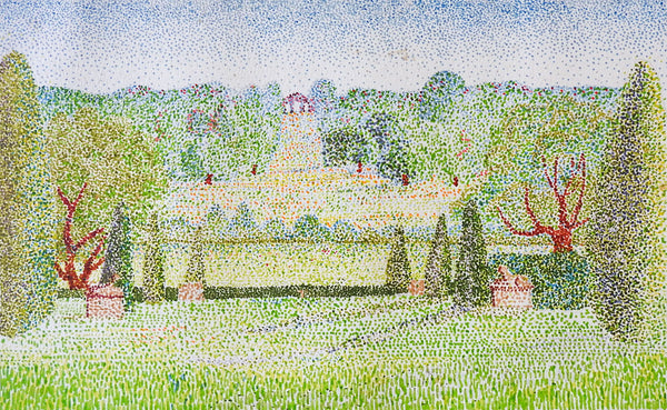 Pointillist Formal Garden Watercolor Painting