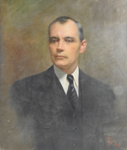 Portrait by Edmondo Pizzella, 1935 Oil Painting