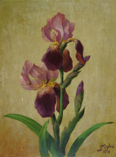 Purple Iris 1941 Vintage Painting
