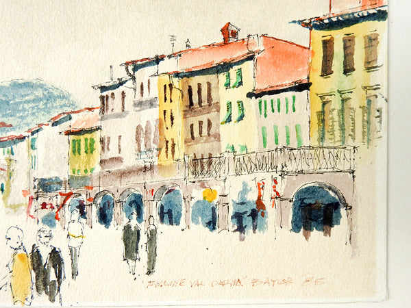 1985 European Cityscape Ink & Watercolor Study