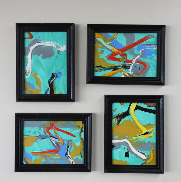 Small Turquoise & Red Abstract Paintings Set of 4