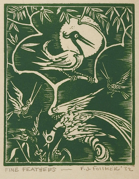 Fine Feathers Bird Wood Block Print 1932
