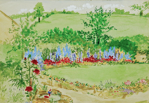 Small English Garden Watercolor Painting