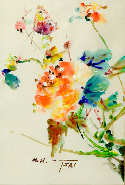 Butterfly & Flowers Painting by H. H. Tsai