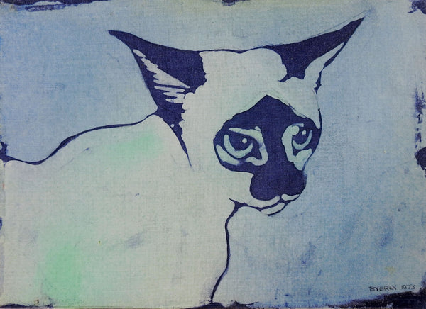 Siamese Cat Blue Batik Portrait