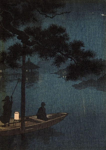 Night Scene Japanese Wood Block Print