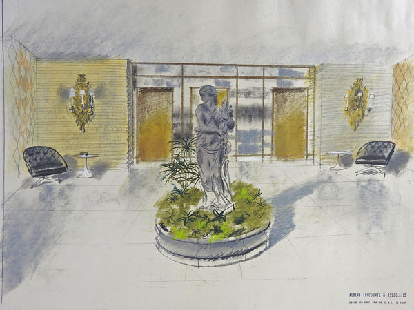 1950s Hollywood Regency Architectural Drawing