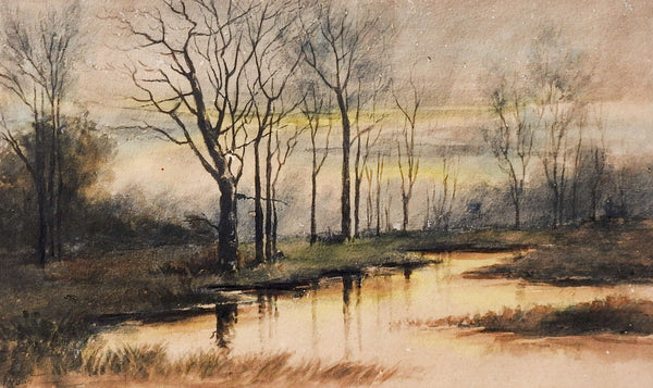 Riverside Evening Watercolor Painting