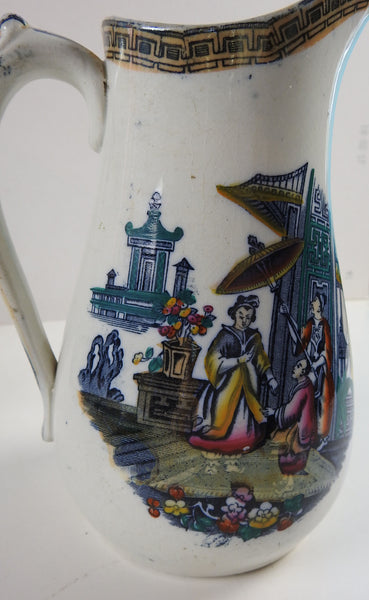 Chinoiserie English Ironstone Antique  Pitcher