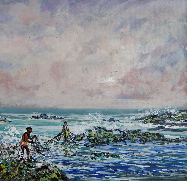 Net Fishing By Simon Michael Painting