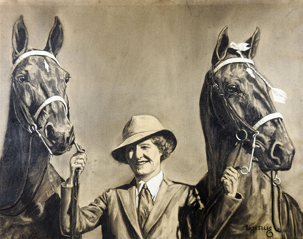 1930's Equine Portrait Painting of Saddlebreds & Owner