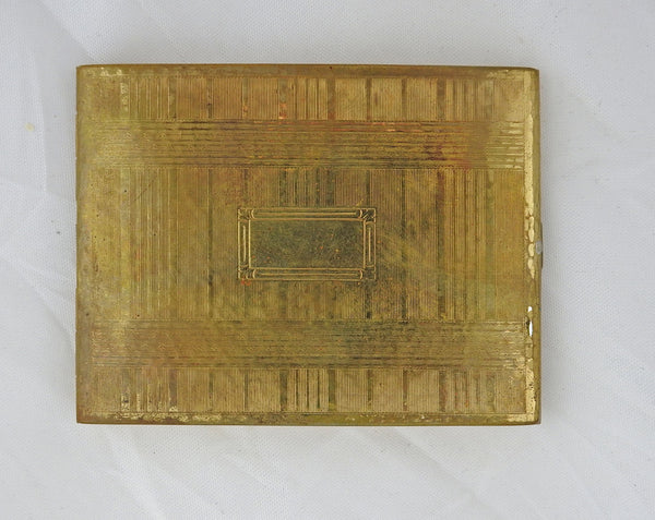Evans Gold tone Deco Cigarette Case Or Card Holder