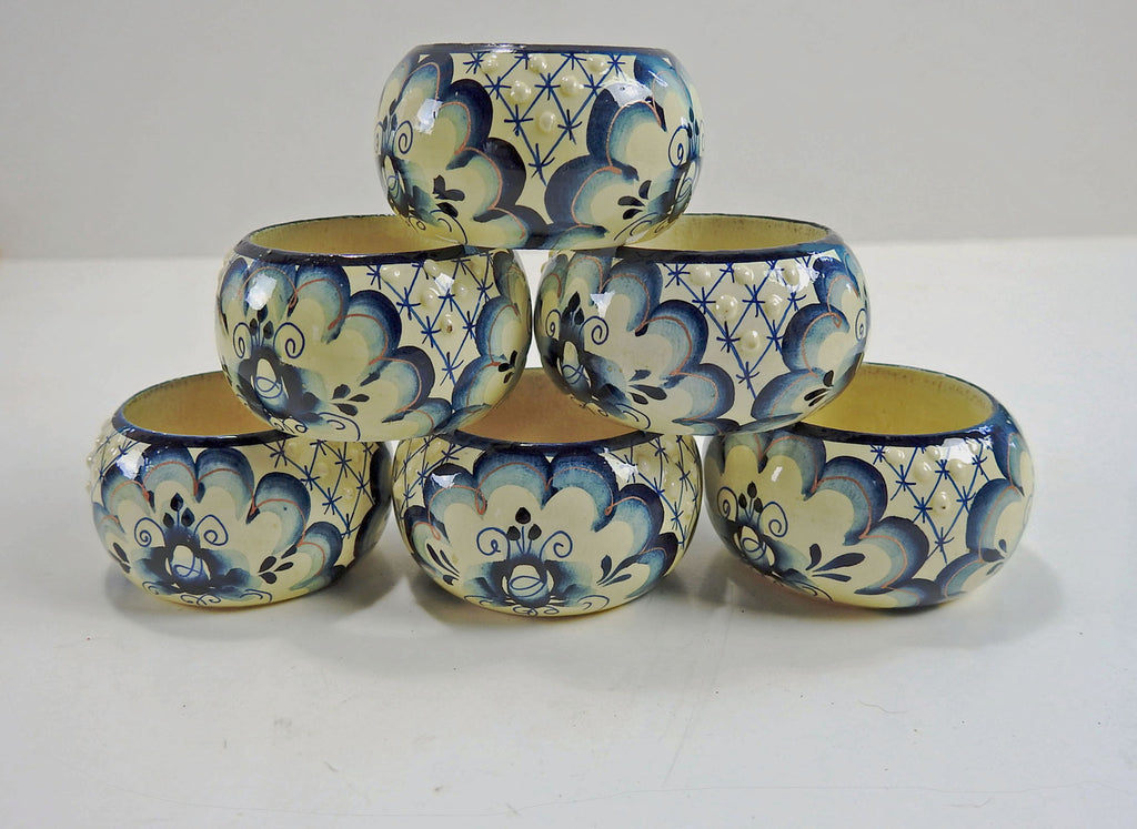 Hand Painted Vintage Wood Napkin Rings Set Of 6 Artifax Antiques Design