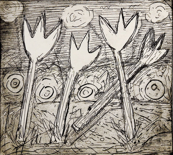 Abstract Tulips Etching