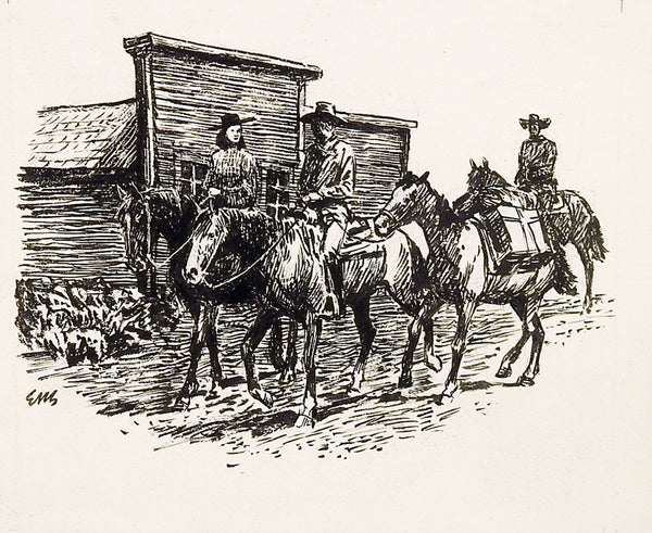 Western Town Illustration Drawing
