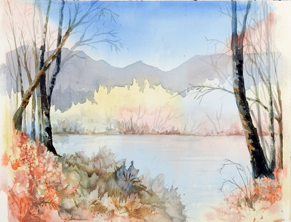 Lakeside Watercolor Painting in Pastel Colors