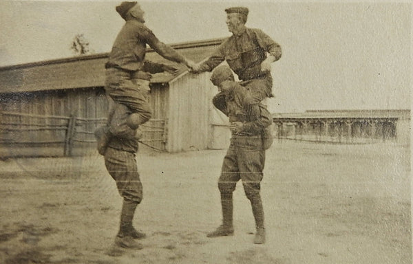 WWI Soldiers Piggyback Game Photograph
