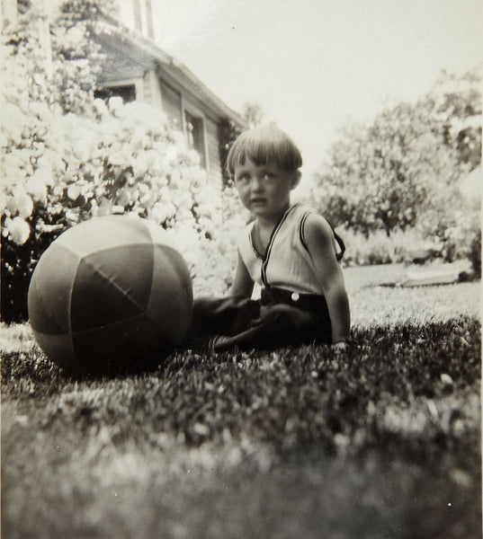 1920's VINTAGE Boy with large Beach Ball photograph