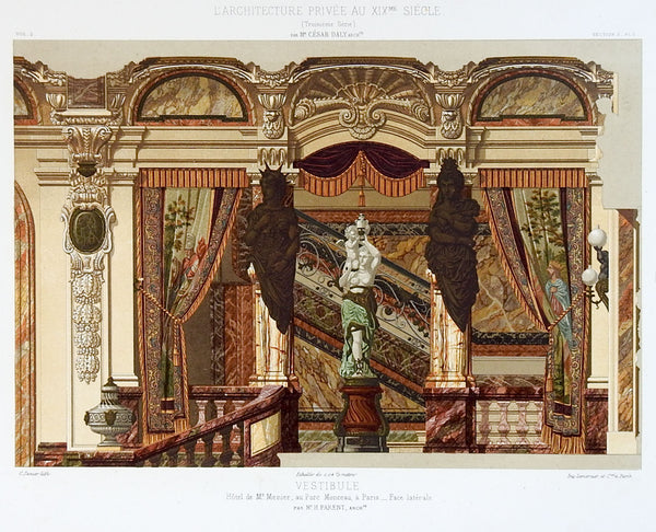 1870's French Hotel Menier Architectural Ornament Lithograph