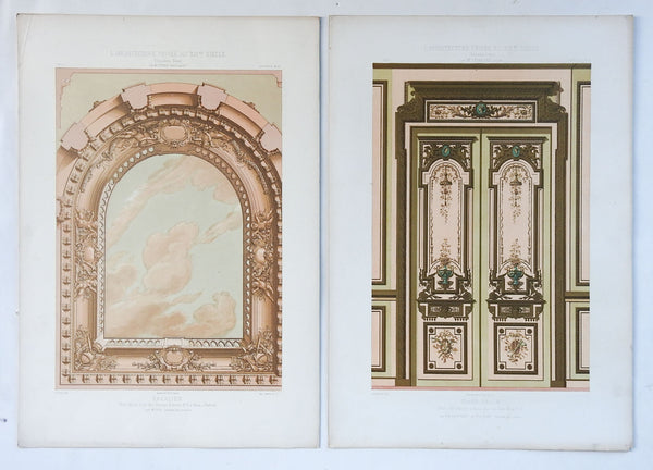 1870's Cesar Daly French Architectural Ornament Lithographs - A Pair