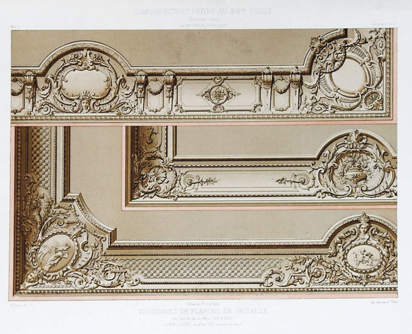 1870's French Paris Jockey Club Architectural Ornament Lithograph