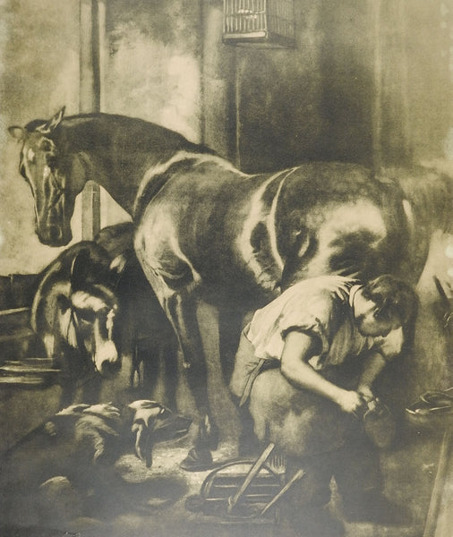 Blacksmith & Horse Antique Lithograph
