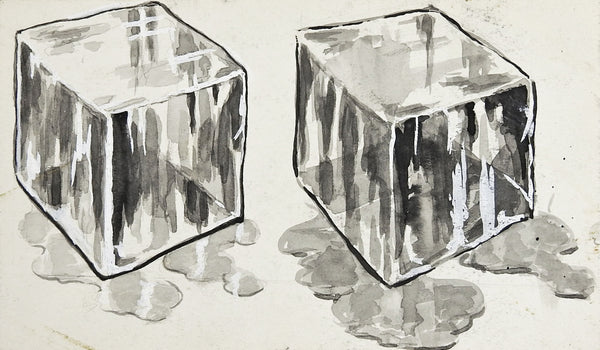 Ice Cube Grisaille Watercolor