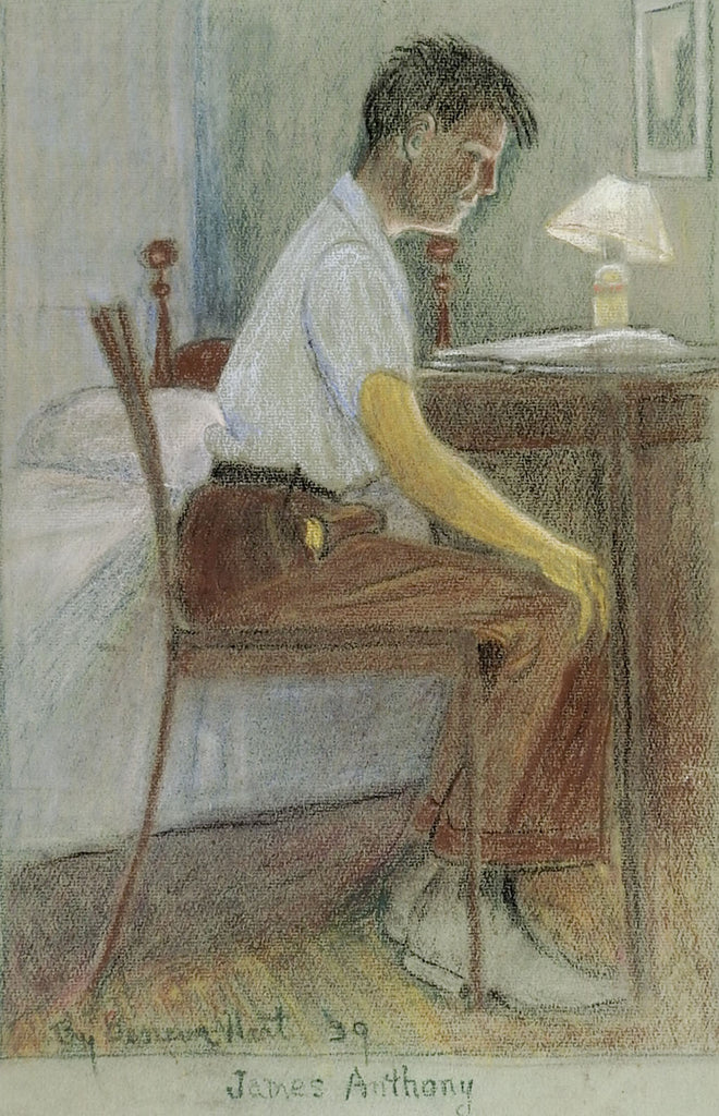 1939 Pastel Portrait Drawing of Student