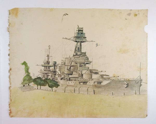 1940's Battleship Drawing