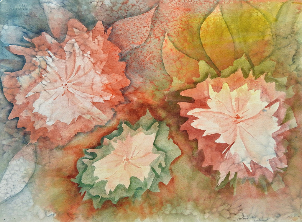 2 Paintings in 1 Lakeside Landscape & Floral Abstract