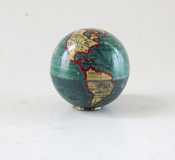 Tiny Vintage Tin Lithographed Globe Pencil Sharpeners Set of 12