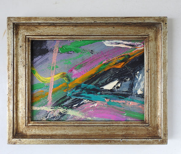 Small Pink, Black & Green Abstract Painting