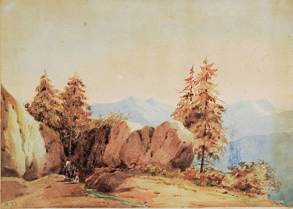 1832 Miniature Watercolor Landscape Painting