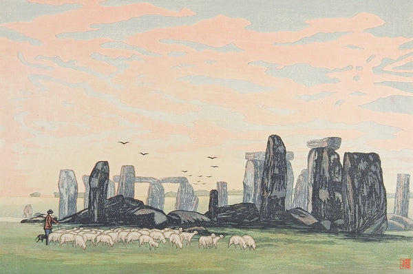 Urushibara Stone Henge By Day Woodcut Print