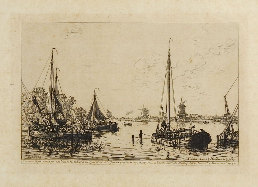 Dutch Harbor Scene Etching  1877